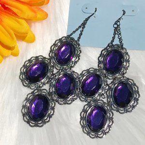 Boho Earrings Long Purple Bead Drop Dangles NWT